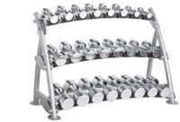 HOIST Commercial Freeweight Line 3-tier Horizontal Beauty Bell Rack (12 Pairs) CF-3462-3